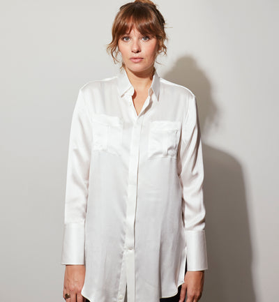 Mr Start Woman Safari Silk Shirt in Natural White