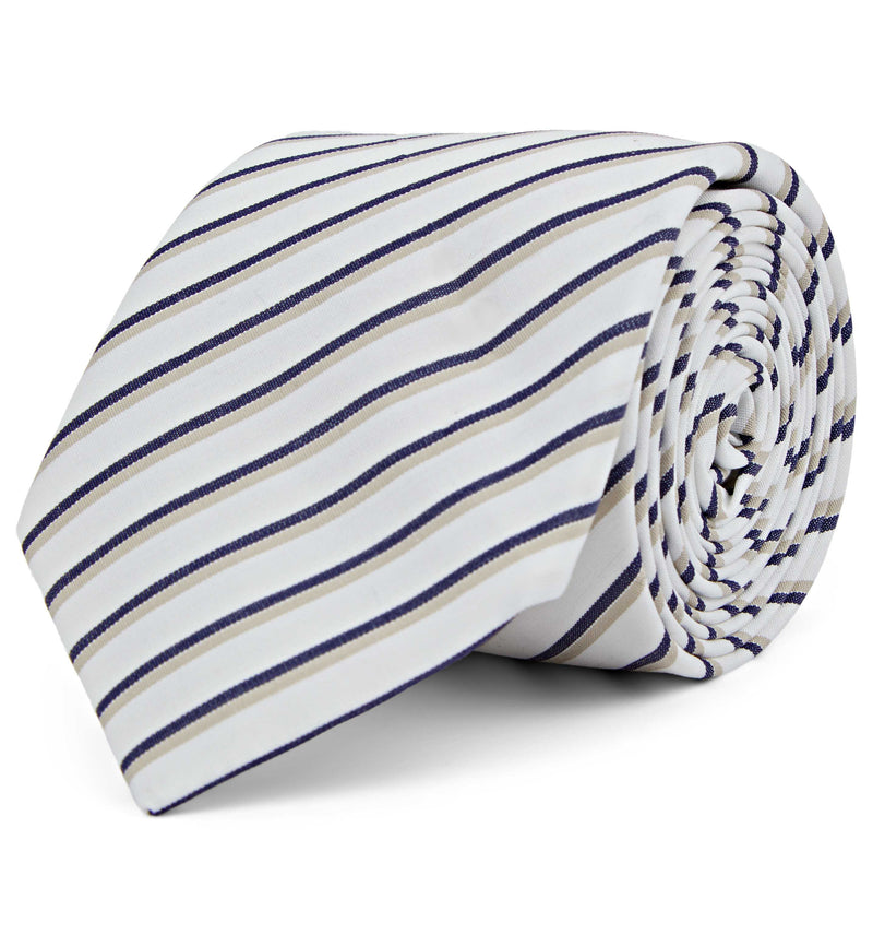 Cotton Tie In Bold Navy Shadow Stripe