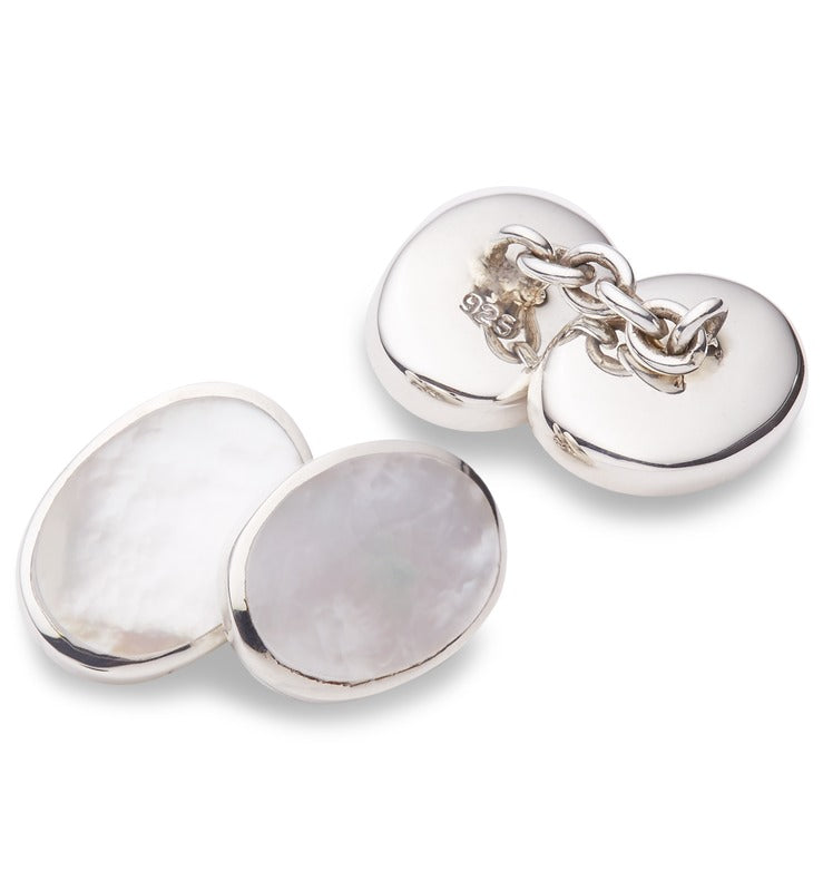 Silver and White Mother Of Pearl Cufflinks
