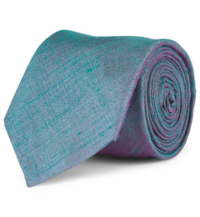 Peacock Blue Shantung Silk Tie