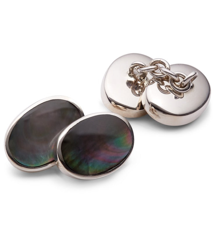 Silver and Smoke Mother Of Pearl Cufflinks