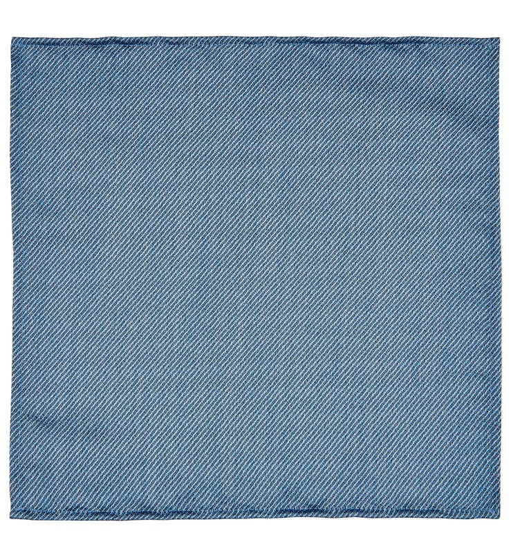 Pale Blue Fine Stripe Woven Pocket Square