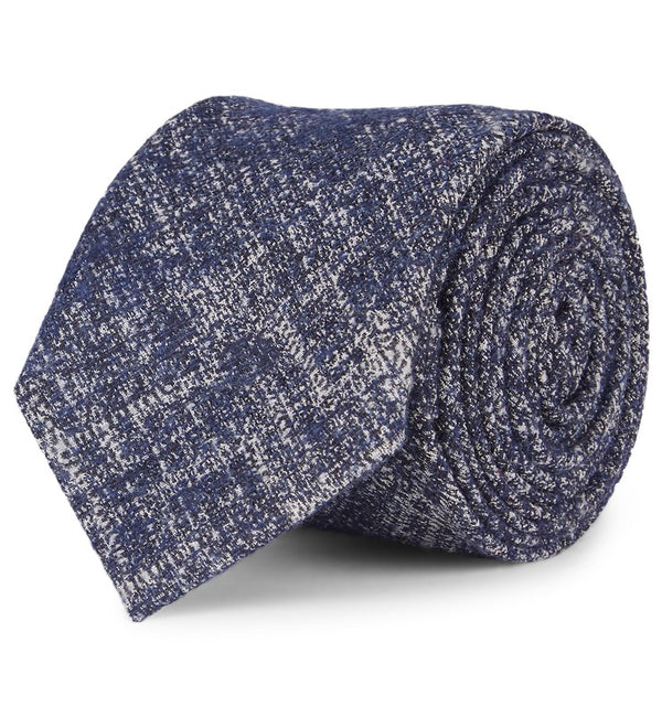 Crosshatch Wool & Silk Tie in Blue