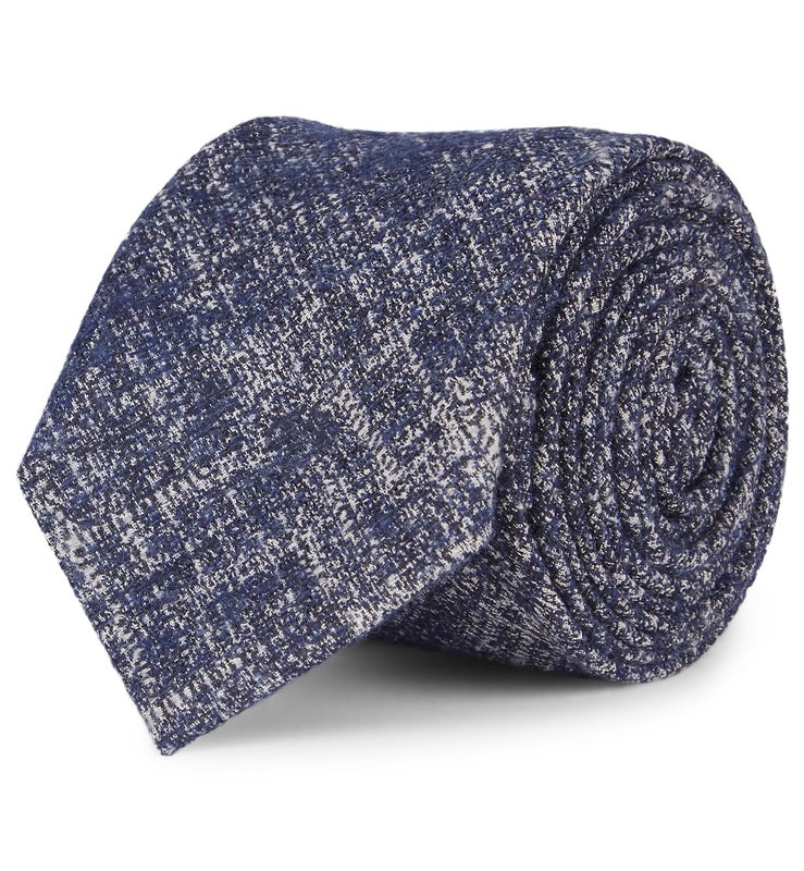 Blue Crosshatch Wool & Silk Tie