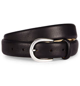 Feather Edge Luxury Leather Belt in Black