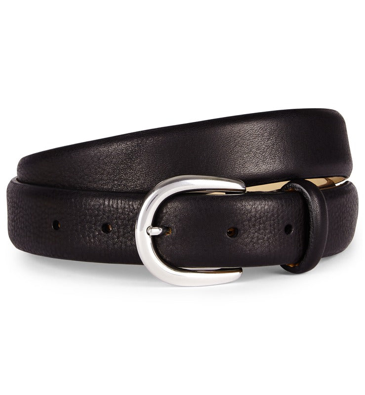 Black Feather Edge Luxury Leather Belt