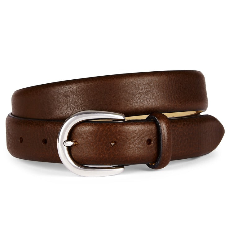 Brown Feather Edge Luxury Leather Belt