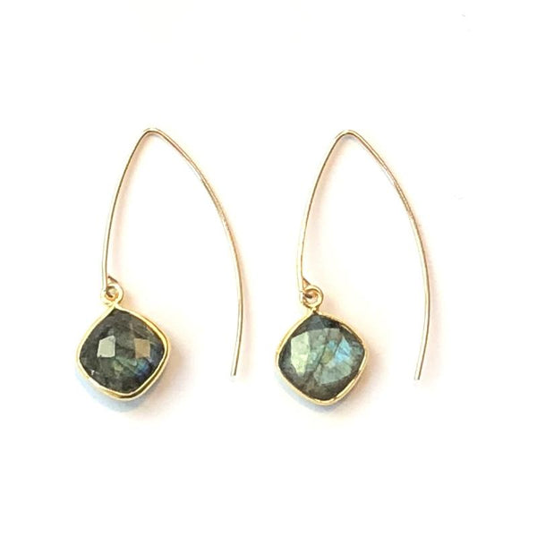 Nikki Smith Designs - Gold Filled V's - Labradorite, , Nikki Smith Designs, Earrings, Faire, Jewelry, With its modern geo shape, these iridescent gray stones finished off with gold filled V's are modern yet classic. Semi precious genuine gemstone, 14K gold filled V's over sterling.