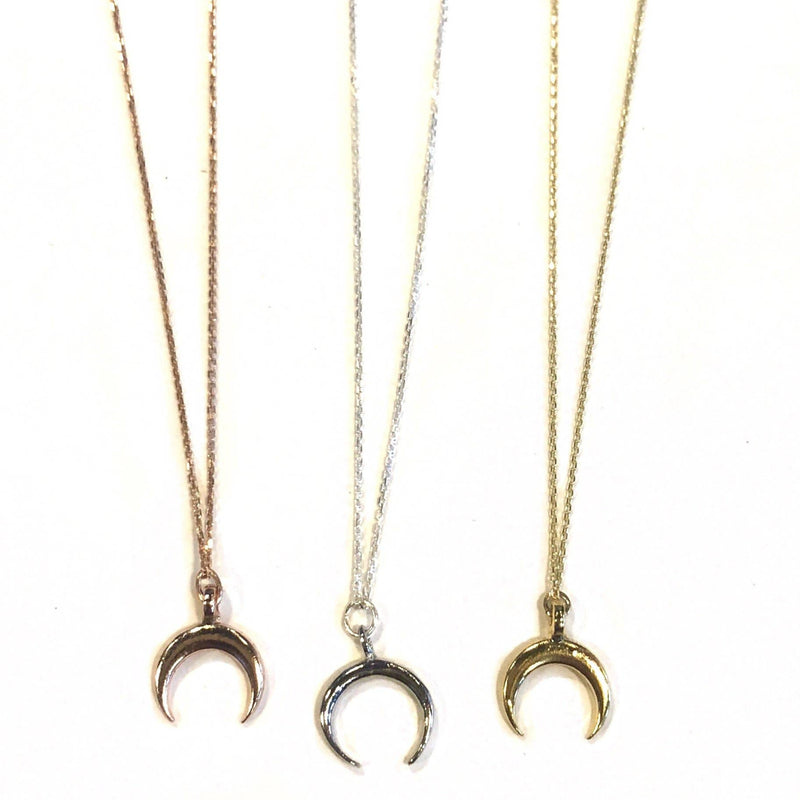 Nikki Smith Designs - Dainty Crescent Charm Necklaces, , Nikki Smith Designs, Faire, Jewelry, Necklaces, A simple and sleek Crescent necklace that is perfect for a touch of boho-chic into your jewelry collection! 16 inch necklace sterling silver, gold dipped sterling silver, or rose gold dipped sterling silver!