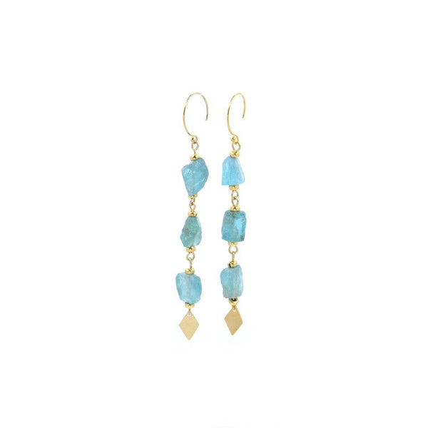 "Bent by Courtney - Kai, , Bent by Courtney, Earrings, Faire, Jewelry, Amazonite. 14k Gold Filled . 3"" long."