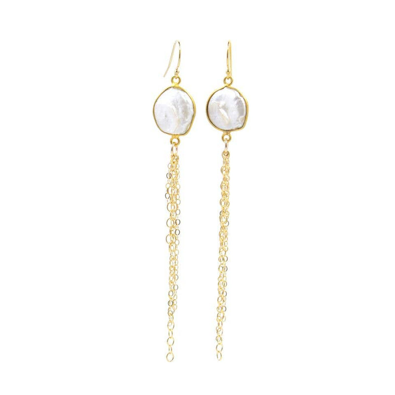 "Bent by Courtney - Shore Tassel, , Bent by Courtney, Earrings, Faire, Jewelry, 14k Gold Filled with Freshwater Pearls and Chain tassels. 3.5'' x 0.5""."