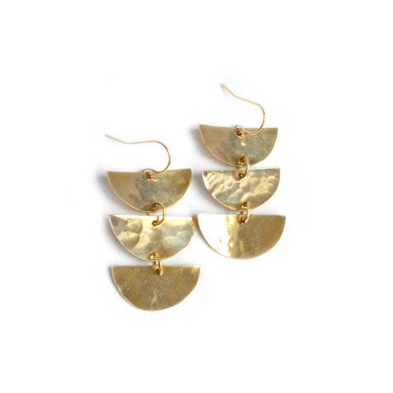 "Bent by Courtney - Naya, , Bent by Courtney, Earrings, Faire, Jewelry, Hammered Brass Earrings.14k Gold Fill Earring Wires. 2.5"" long."