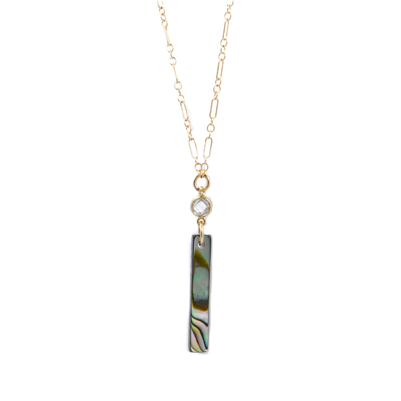 "Bent by Courtney - Maria Necklace, , Bent by Courtney, Faire, Jewelry, Necklaces, 14k Gold Filled. Mother of Pearl or Abalone Cubic Zirconia. 15 inches with 2"" extender chain"