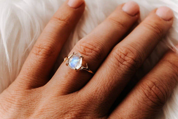 Wander + Lust Jewelry - Gold Everly Ring, , Wander + Lust Jewelry, Faire, Jewelry, Rings, This dainty everly ring represents harmony, balance and hope. This delicate ring features the lovely gemstone, rainbow moonstone. This stone is known to strengthen intuition, clear the mind & senses, and aid in lucid dreaming and calm sleep.