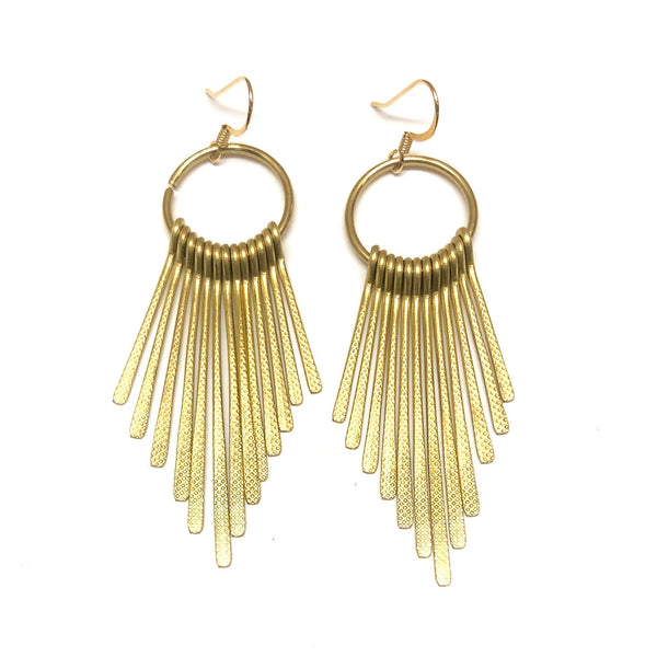 Nikki Smith Designs - Golden Metal Fringe Earrings, , Nikki Smith Designs, Earrings, Faire, Jewelry, We can't get enough of our golden fringe earrings! These beauties shine on their own and draw everyone to you! Don't pass up these unique stunners! 3 inches in length hypoallergenic and nickel-free-great for sensitive ears!