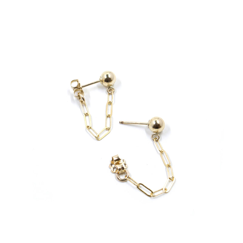 Bent by Courtney - Ball & Chain Studs, , Bent by Courtney, Earrings, Faire, Jewelry, 14k Gold Filled 4mm Ball Stud with Drawn Chain connected to earring backs. These edgy & fun studs are easy to wear