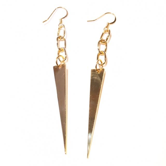Nikki Smith Designs - Gold Dagger Earrings, , Nikki Smith Designs, Earrings, Faire, Jewelry, We love how edgy yet classic these golden dagger earrings are! These beauties are lightweight, hanging from a simple and dainty chain. This look will never go out of style-wear it with everything! Hypoallergenic and nickel-free; great for sensitive ears