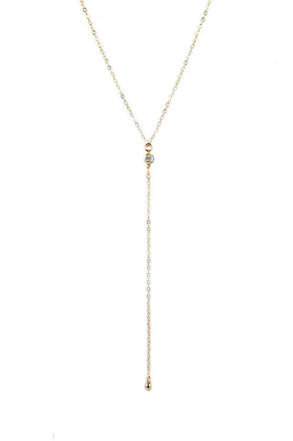 "Bent by Courtney - Ali, , Bent by Courtney, Faire, Jewelry, Necklaces, 14k Gold-Filled with Cubic Zirconia. Lobster Clasp Closure. 2"" extender for adjustable length drop is 3 ½"". Choose your chain length: 15 or 17 inches"