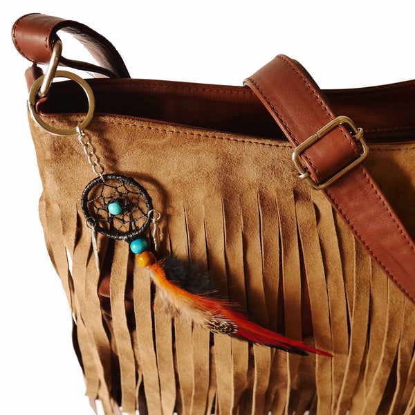 Signature Fringe Shoulder Bag in Chestnut-handbag-Wherevershegoes