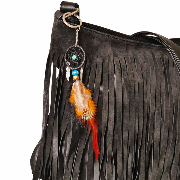 Signature Fringe Shoulder Bag in Black-handbag-Wherevershegoes