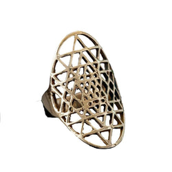 Brass Sri Yantra Ring, Rings, Baizaar, Rings, Brass ring by Baizaar Baizaar's collection is a mix of entirely handmade pieces and cast designs, with all details being hand carved. Made by skilled metal smiths in the Rajasthan region of Northern India. The brass is a combination of zinc and copper and is nickel-free