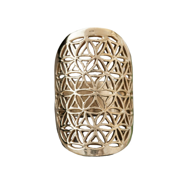Carved Brass Flower of Life Ring, Rings, Baizaar, Rings, Carved Brass Flower of Life Ring by Baizaar Made of Brass