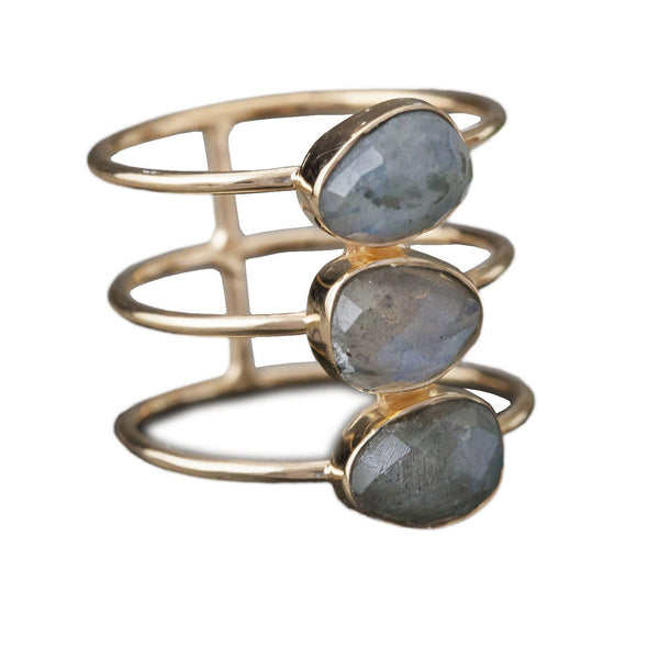 Triple-Band Labradorite Ring, Rings, Baizaar, Rings, Gold-plated, triple-band, faceted labradorite ring by Baizaar