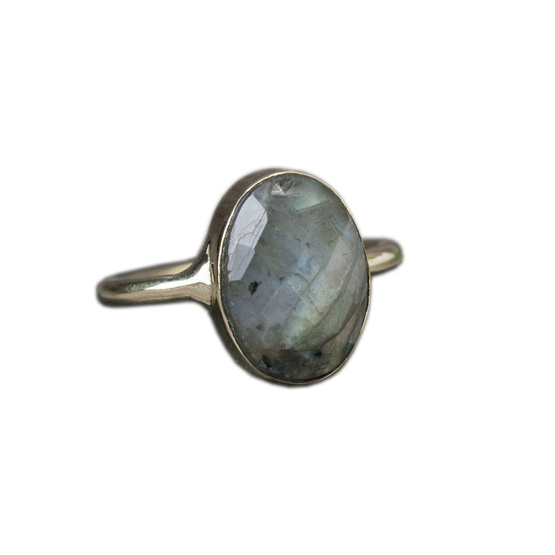 Brass Labradorite Ring, Rings, Baizaar, Rings, Brass Labradorite ring by Baizaar Baizaar's brass collection is a mix of entirely handmade pieces and cast designs, with all details being hand carved. Made by skilled metal smiths in the Rajasthan region of Northern India. The brass is a combination of zinc and copper and is nickel-free.