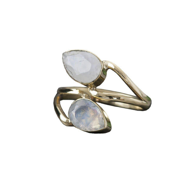 Double Stone Wrapped Ring, Rings, Baizaar, Rings, Gorgeous ring with two small moonstones coiled around a brass band Handmade so each ring may have variations By Baizaar
