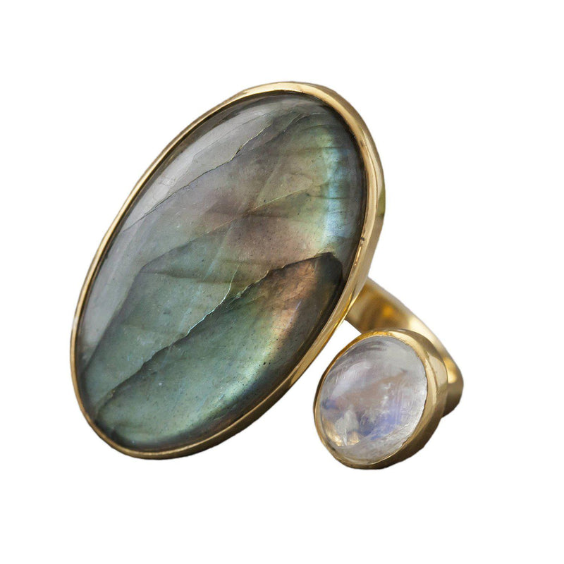 Labradorite and Moonstone Silver Ring, Rings, Baizaar, Rings, Labradorite and Moonstone Silver Ring by Baizaar