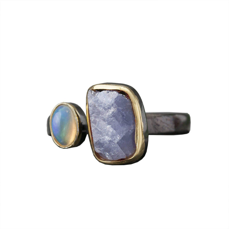 Tanzanite and Opal Brass Ring, Rings, Baizaar, Rings, Tanzanite and Opal Ring Brass by Baizaar