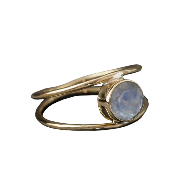 Moonstone Double Brass Ring, Rings, Baizaar, Rings, Moonstone Double Brass Ring by Baizaar