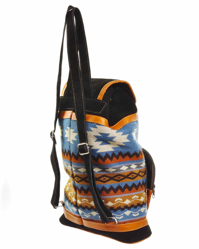 Banos Large Backpack in Black/Blue, backpack, Wherevershegoes, Backpack, Banos, handbags, The Banos Large Backpack is an ideal companion when heading out for your next adventure, whether you are headed to class or exploring a new city. The leather straps slide right over your shoulders, making it a light and versatile hands-free option. An outside pocket and a small zippered pocket inside keep you well-organized. Height 16 inches | Width 10 inches | Length 4 inches.