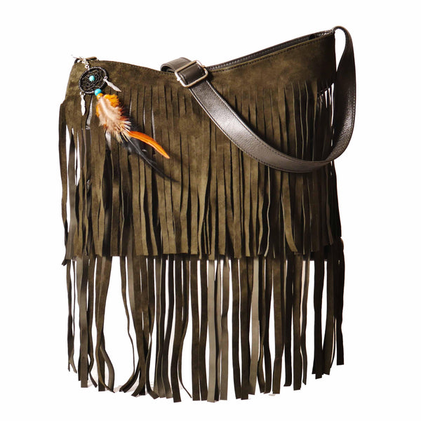 Signature Fringe Shoulder Bag in Olive-handbag-Wherevershegoes