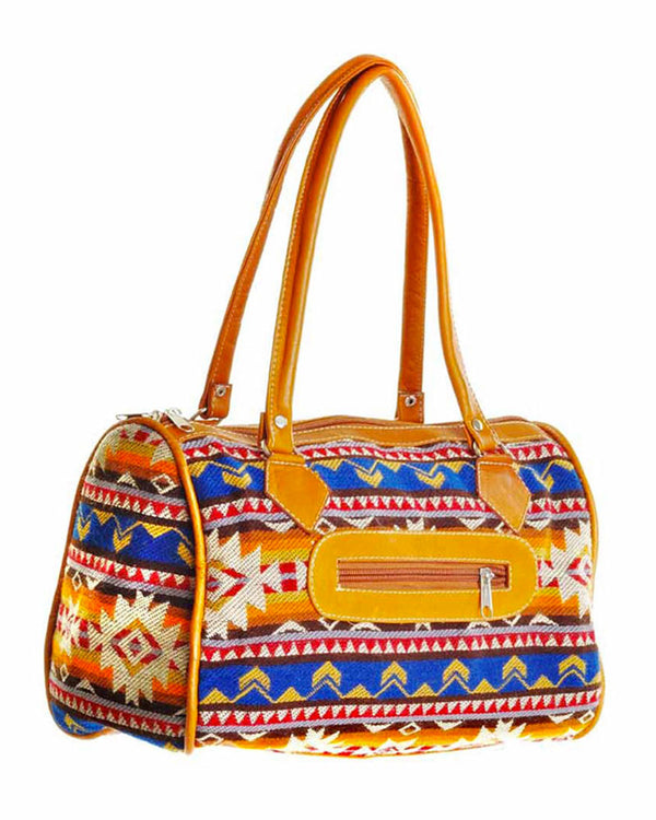 Cuenca Satchel in Aztec Print, handbag, Wherevershegoes, Cuenca, Handbag, satchel, The Cuenca Satchel is the perfect accessory for any outfit. Fully-lined with a zippered pocket inside, the two leather top-handles allow you to grab it and go. Design and color may vary as each is one-of a-kind. Height 7.5 inches Width 11 inches Length 5 inches