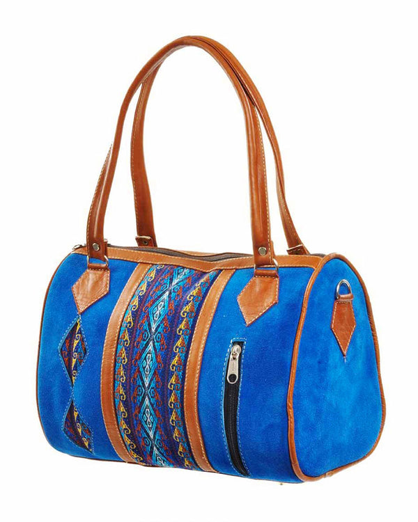 Cuenca Satchel in Cobalt Blue, handbag, Wherevershegoes, Cuenca, Handbag, satchel, The Blue Cuenca Satchel is the perfect accessory for any outfit. Fully-lined with a zippered pocket inside, the two leather top-handles allow you to grab it and go. Design and color may vary as each is one-of a-kind. BLUE CUENCA IS LAST OF STOCK, DISPLAY ITEM WITH SMALL SCUFFS ON THE BOTTOM. DISCOUNTED PRICE OF $59. Height 7.5 inches Width 11 inches Length 5 inches