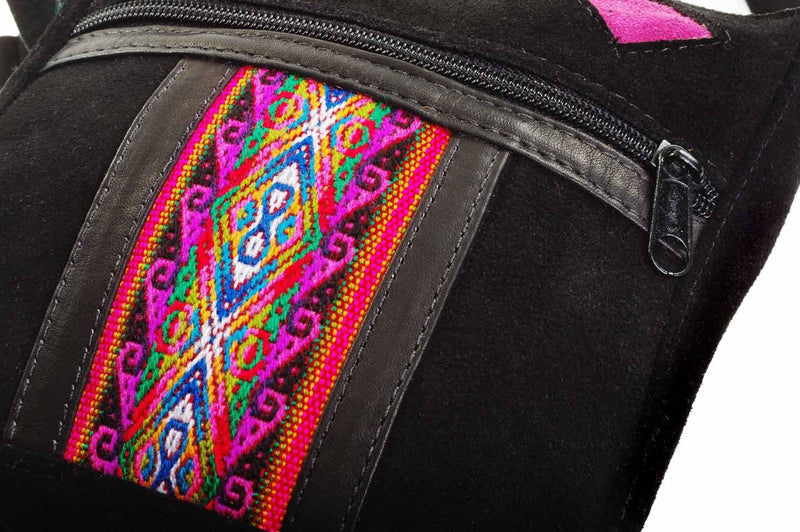 Mindo Pouch in Black, handbag, Wherevershegoes, Crossbody, Mindo, The Mindo Pouch comes in handy when you only need the essentials. Easily fit a phone, credit cards, keys and gloss into this bag. The long adjustable strap can be worn over the shoulder or across the body. The bag is fully-lined and has a zippered pocket on the outside. Height 7 inches Width 6.5 inches Length 1 inch