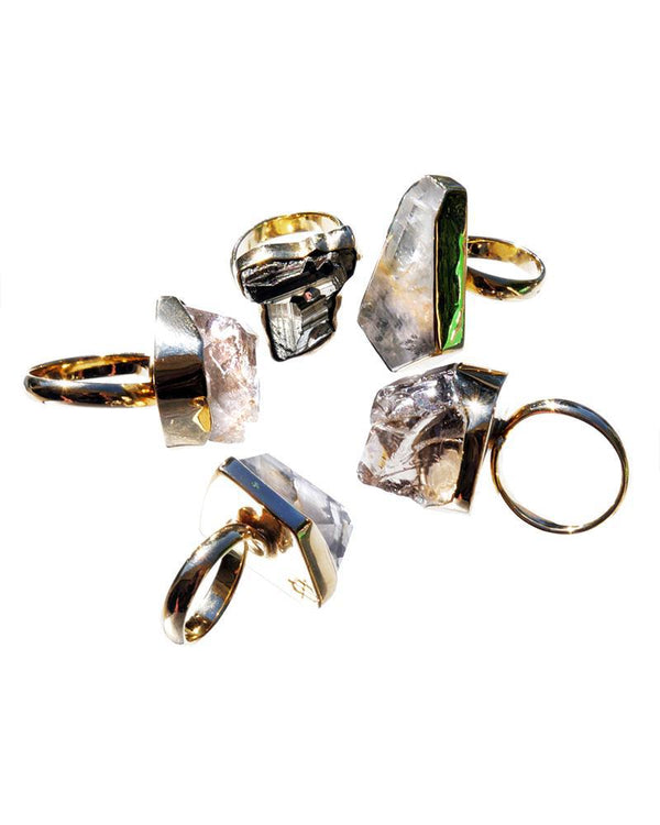 Meteorite and Quartz Rings-Rings-Wherevershegoes