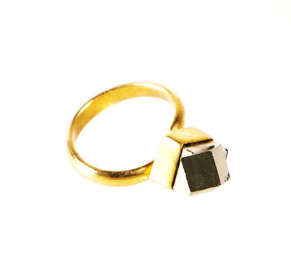 Solitaire Pyrite Ring, Rings, Wherevershegoes, Jewelry, Rings, Solitaire Pyrite stone perched atop a 24k gold-plated brass ring band. Due to the nature of the stones, expect minimal variations in size and/or markings. All rings are slightly adjustable in approx. size 5-7. Pyrite Stone and Gold-plated Brass By Quarzoma Jewelry