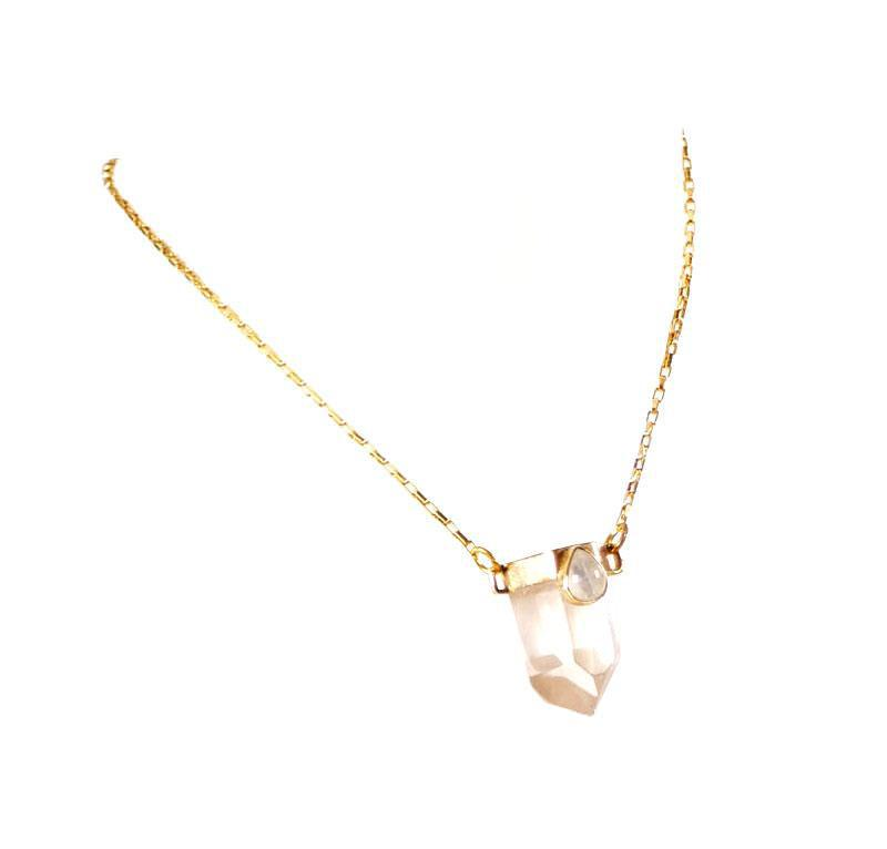 Crystal Teardrop Pendant Necklace-necklace-Wherevershegoes