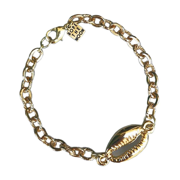 Shell Bracelet, bracelet, Rope the Moon Jewelry, bracelets, 24k gold plated cowrie shell with large link gold plated chain. Clasp Closure. by Rope The Moon