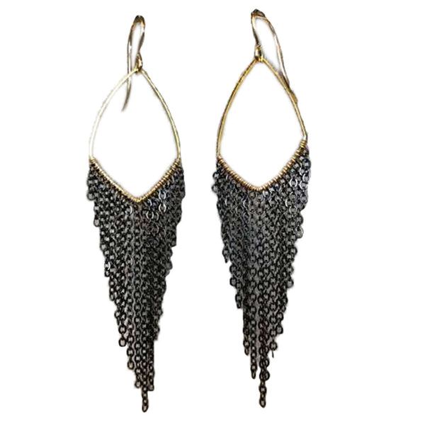 "Harley Large Earrings, earrings, Sonya Renee, Earrings, 4.5"" total length, gold filled ear hooks, plated frame with gunmetal or gold fringe. By Sonya Renee Jewelry"