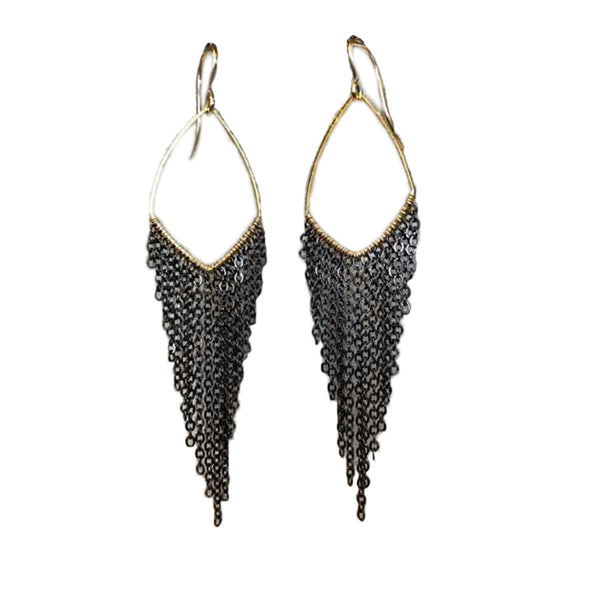 "Harley Small Earrings, earrings, Sonya Renee, Earrings, 3"" total length, gold filled ear hooks, plated frame with gunmetal or gold fringe. By Sonya Renee Jewelry"