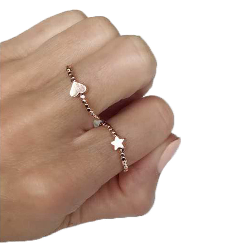 Love Star Ring Set, Rings, Sonya Renee, Rings, Stretchy gold plated rings, heart, star and plain, sold as set of 3. Available in Gold or Rose Gold. By Sonya Renee Jewelry