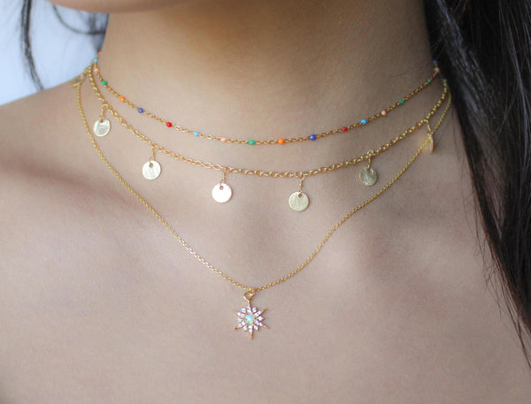 Golden Opal Charm Necklace-necklace-Nikki Smith Designs-Opal Starburst-Wherevershegoes