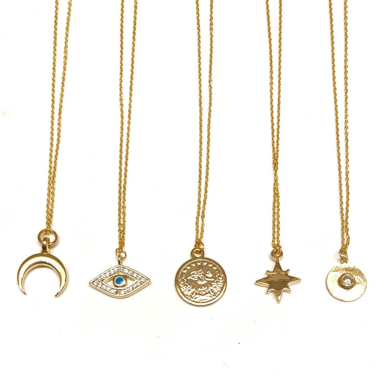 Mini Charm Necklace, necklace, Nikki Smith Designs, Necklaces, These mini charm necklaces are a must-have. Can be used for layering or keep it simple by wearing one alone. Available in the crescent, evil eye, ancient coin, starburst, and hammered circle are classic 16 inch sterling silver chain, dipped in 14k gold by Nikki Smith Designs
