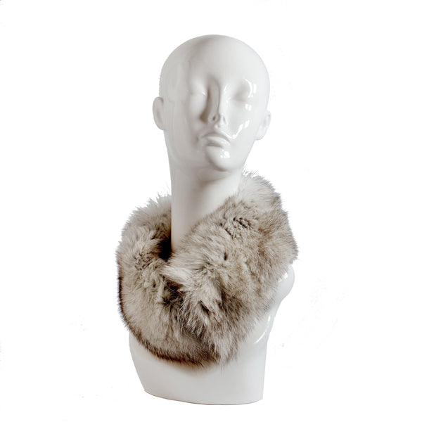 Faux Fur Collar in Sable, furs, Wherevershegoes, Fur, furs, scarf, Versatile and luxurious, this beautiful faux fur collar can be worn around the neck or head. Made in Prague of the highest quality, faux-fur, it is fully-lined, warm and comfortable. Small velcro closure keeps it in place. Brown and gray faux fur with tips. Due to the nature of the fur, the product color and shape will vary. One size fits most.