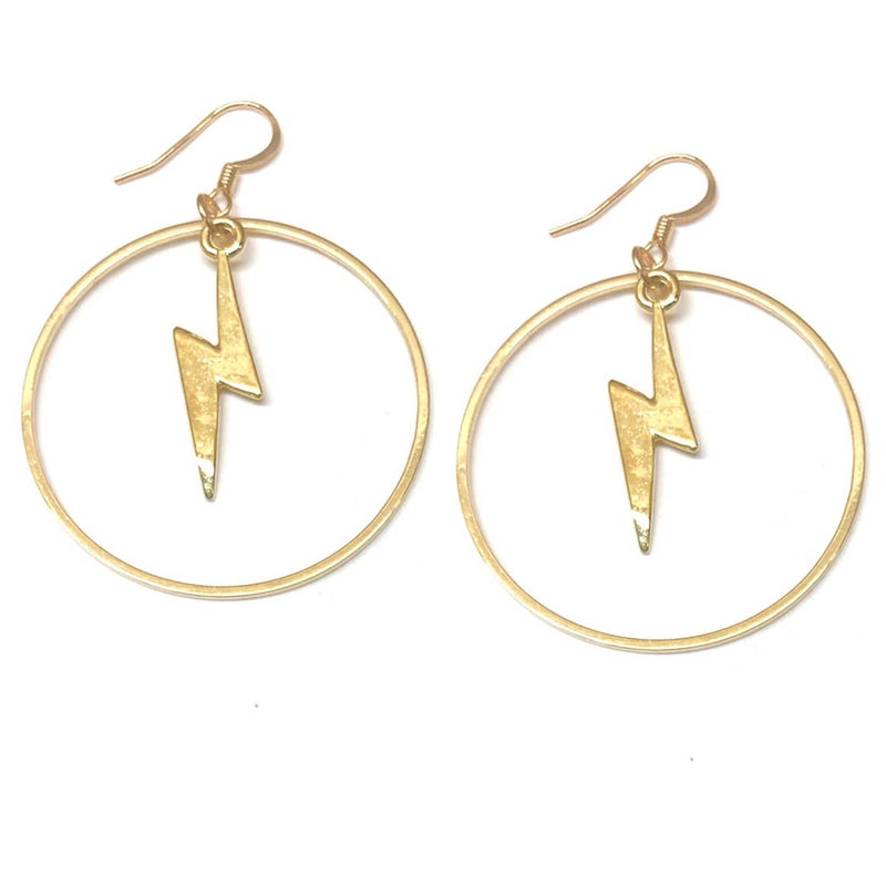 Golden Lightning Bolt Hoops, earrings, Nikki Smith Designs, Earrings, We're all about adding a little funkiness to your style and these hoops do just the trick. Gold plated, nickel-free and hypoallergenic by Nikki Smith Designs