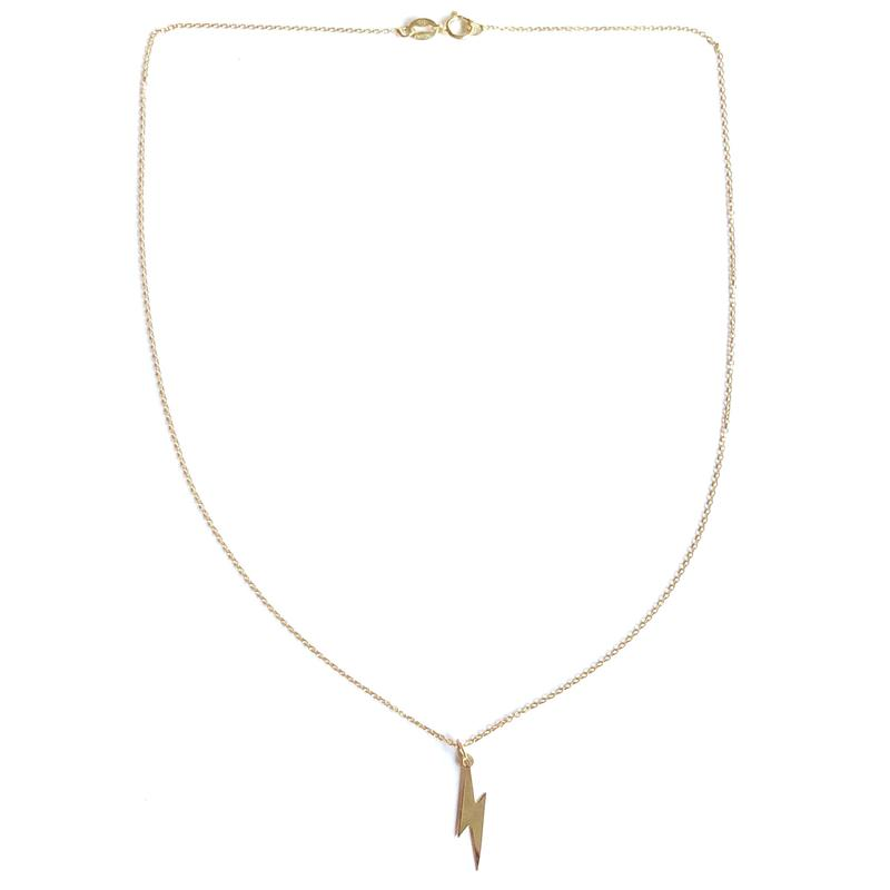 Lightning Bolt Necklace, necklace, Nikki Smith Designs, Necklaces, We are loving how this little bolt stands out when layered or worn alone! On a 16 inch chain, sterling silver base, plated in gold. By Nikki Smith Designs