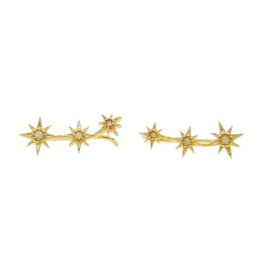 Star Gazing Crawler Earrings, earrings, Nikki Smith Designs, Earrings, Dress up your ear with these gold star crawler earrings! You will definitely stand out in a crowd with these dazzling pieces! cubic zirconia gems on Gold plated, nickel-free hypoallergenic, great for sensitive ears By Nikki Smith Designs